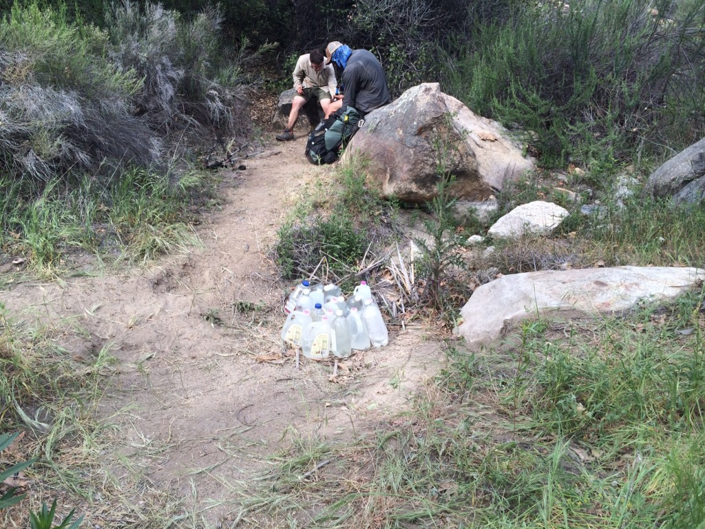 Water cache at mile 15