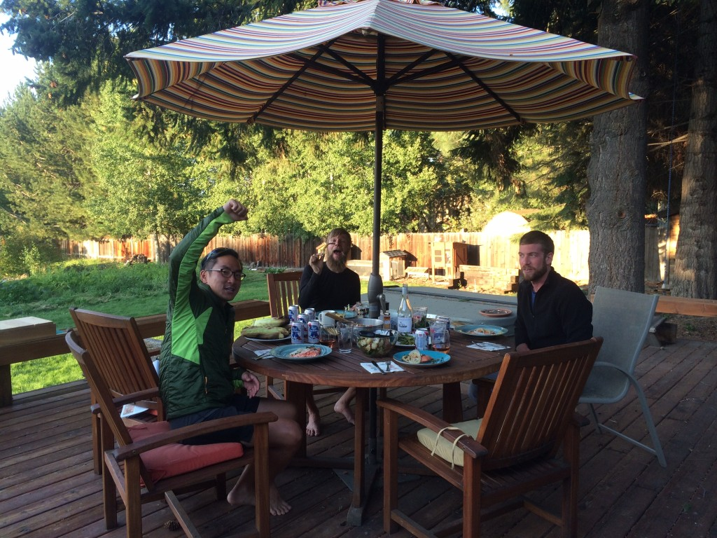Slow Gin, Cracker Jax, Black Death/Hoff Zombie/Lewis enjoying hiker grill feast