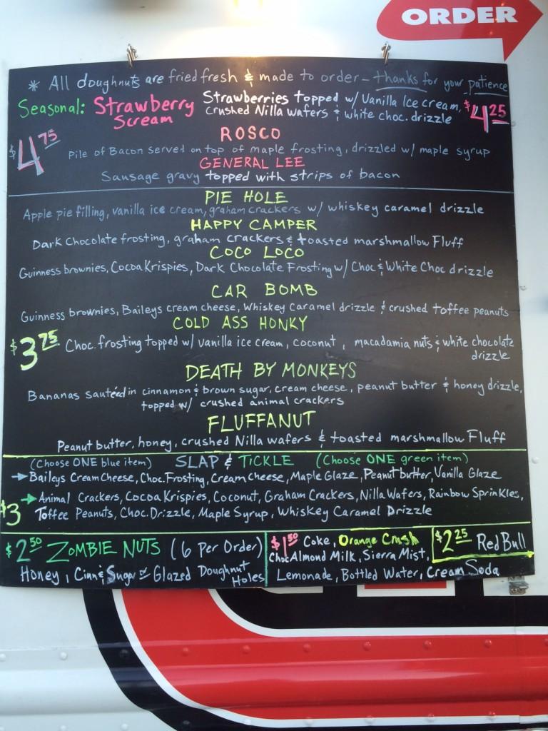 Glazed and Confused menu