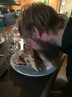 CJ eating at manning park